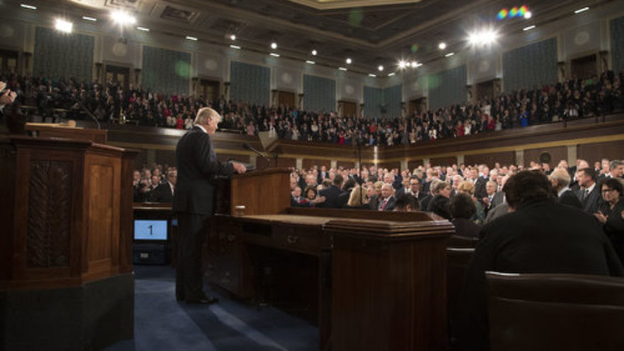 President Donald Trump delivers an address to a joint session of Congress Feb. 28, 2017. Credit: Shealah Craighead/White House.