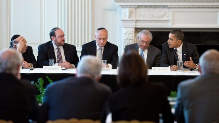 Click photo to download. Caption: President Barack Obama meets with leaders of the Conference of Presidents of Major American Jewish Organizations in the State Dining Room of the White House on March 1, 2011. Credit: Official White House Photo by Pete Souza.