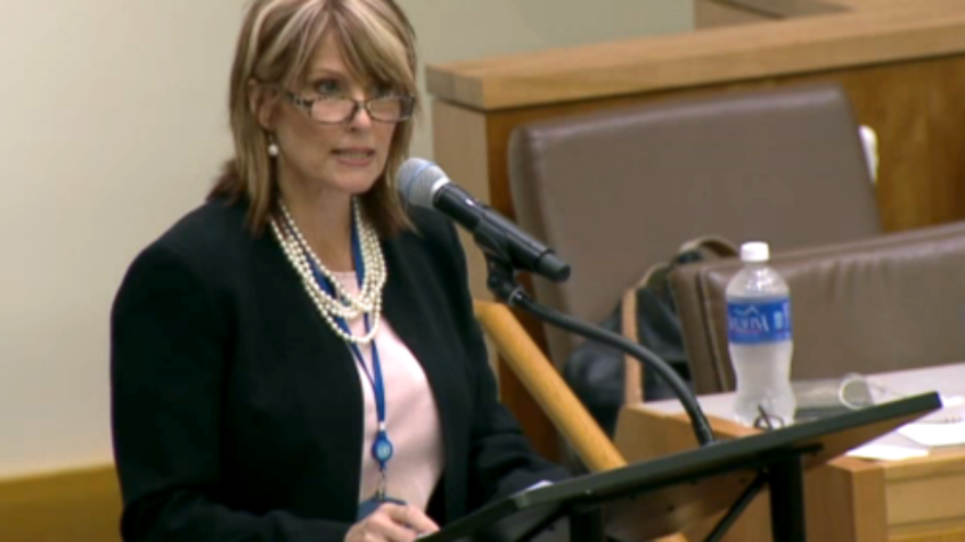 Laurie Cardoza-Moore, president of the Christian Zionist organization Proclaiming Justice to the Nations (PJTN), addresses the PJTN-organized session about anti-Semitism at the United Nations on Aug. 11. Credit: Courtesy of PJTN.