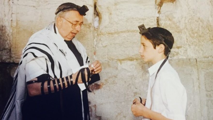 "Click photo to download. Caption: The ""Jerusalem bar mitzvah king,"" Rabbi Jay Karzen (left), with a bar mitzvah boy at the Western Wall. Credit: Courtesy Rabbi Jay Karzen."