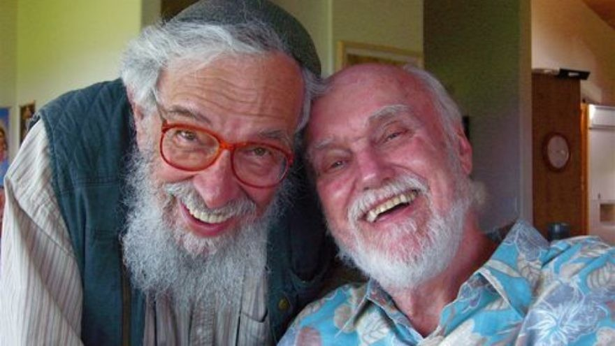 Click photo to download. Caption: Rabbi Zalman Schachter-Shalomi (left) and Ram Dass in February 2008. Schachter-Shalomi, a founder of the Jewish Renewal movement, died last month. Credit: Joan Halifax via Wikimedia Commons.