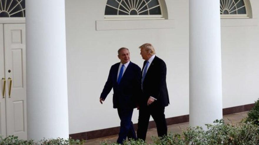 Israeli Prime Minister Benjamin Netanyahu (left) and U.S. President Donald Trump meet at the White House in February. Credit: Avi Ohayon/GPO.