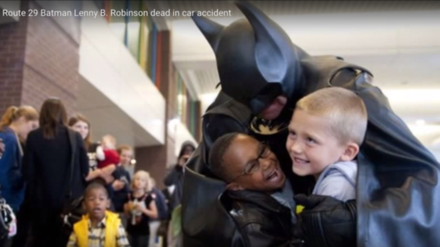 "Click photo to download. Caption: The late Leonard ""Lenny"" Robinson would dress in a Batman costume and visit pediatric wards in the Baltimore and Washington, DC areas. Credit: YouTube screenshot."