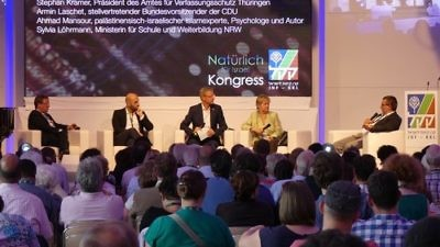 "Panelists at the ""Natürlich for Israel"" (Naturally for Israel) conference, hosted by the Jewish National Fund, Keren Kayemet Le'Israel (JNF-KKL). Credit: Harald Hillmans."