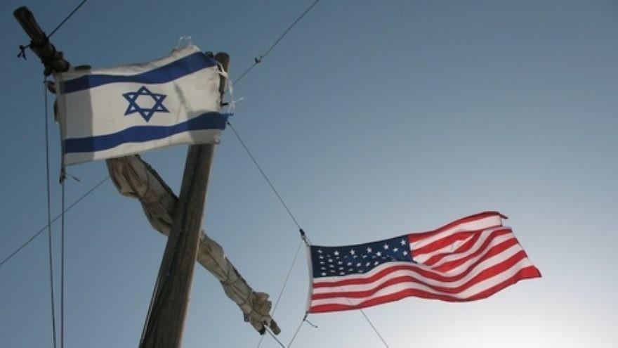 An Israeli and American flag. Credit: James Emery via Wikimedia Commons.