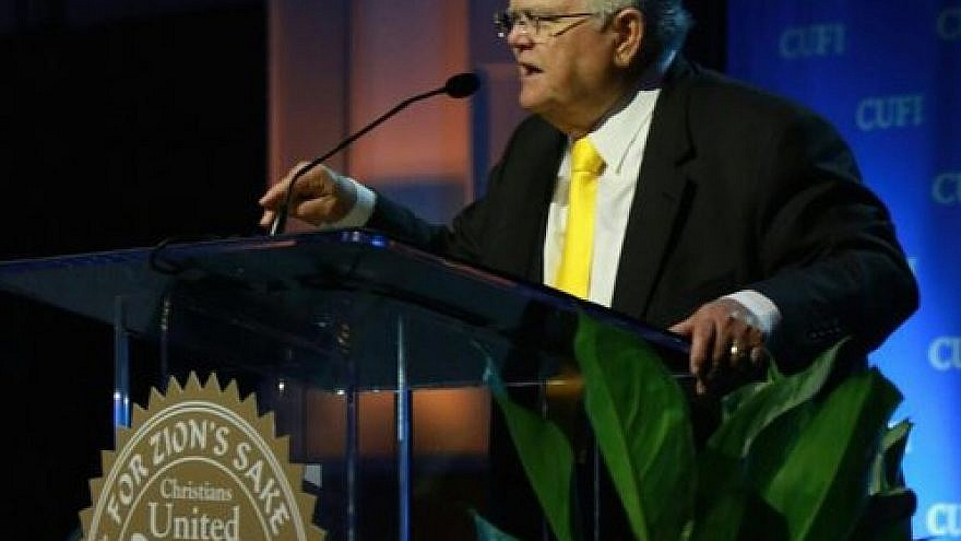 Click photo to download. Caption: Pastor John Hagee, the founder and national chairman of Christians United for Israel (CUFI), speaks at this year's CUFI Washington Summit. Credit: CUFI via Twitter.