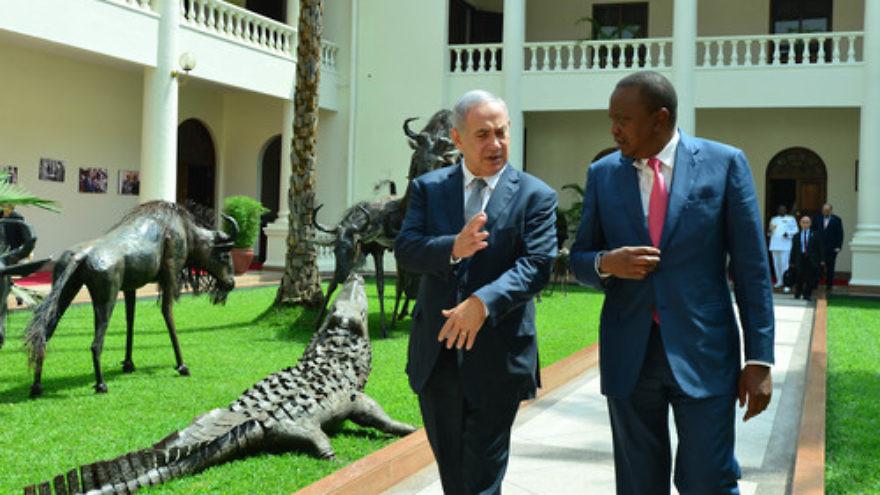 Click photo to download. Caption: Israeli Prime Minister Benjamin Netanyahu meets with Kenyan President Uhuru Kenyatta in Nairobi, Kenya, on July 5. Credit: Kobi Gideon/GPO.