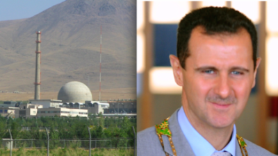 The Iran nuclear program's heavy-water reactor at Arak and Syrian President Bashar Assad. Credit: Roosewelt Pinheiro/ABr and Nanking2012 via Wikimedia Commons.