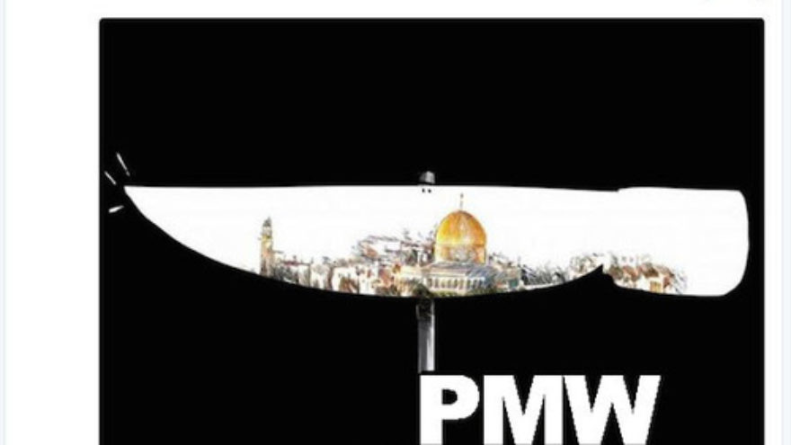 """Click photo to download. Caption: In March 2016, the official Twitter account of the Palestinian Fatah movement posts a photo of a knife on Twitter, claiming in the text that young Palestinians """"follow this path"""" because Israel """"forces"""" them to do so. In the center of the pictured knife is Jerusalem's Dome of the Rock. Credit: Palestinian Media Watch."""