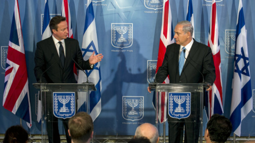 Click photo to download. Caption: Israeli Prime Minister Benjamin Netanyahu (right) and his British counterpart Prime Minister David Cameron attend a joint press conference in Jerusalem on March 12, 2014. Cameron resigned following the United Kingdom's Brexit vote on June 24, 2016. Credit: Olivier Fitoussi/POOL/Flash90.