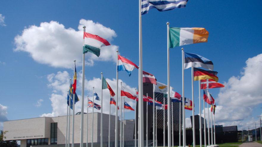 Flags of European Union member nations near Europa Square in Vilnius, Lithuania. Credit: Šarūnas Burdulis via Wikimedia Commons.