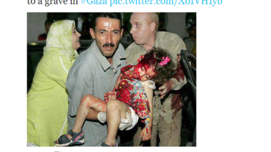 Click photo to download. Caption: Not only was the child pictured March 10 on Twitter not killed by Israel in recent fighting, as implied, but she was not killed by Israel at all. The picture was from 2006 and the girl died in an accident. Credit: Twitter.