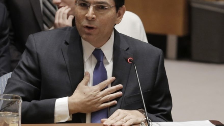 Click photo to download. Caption: Israeli Ambassador to the United Nations Danny Danon speaks at a U.N. Security Council meeting on April 18, 2016. Credit: U.N. Photo/Evan Schneider.