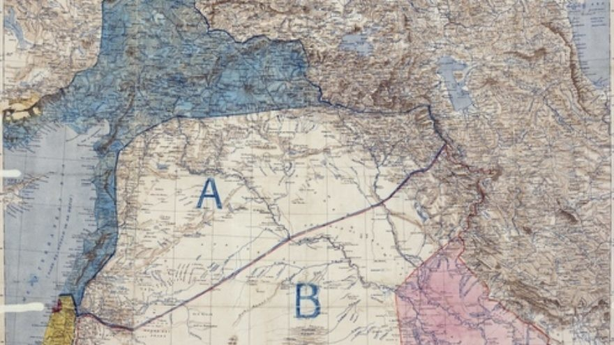 Click photo to download. Caption: The original map of the 1916 Sykes-Picot Agreement. Credit: Royal Geographical Society via Wikimedia Commons.