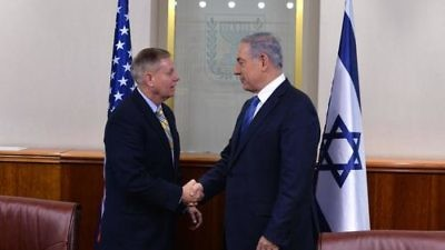 Click photo to download. Caption: U.S. Sen. Lindsey Graham (R-S.C., pictured at left) during his recent meeting with Israeli Prime Minister Benjamin Netanyahu in Jerusalem. Credit: Lindsey Graham via Twitter.