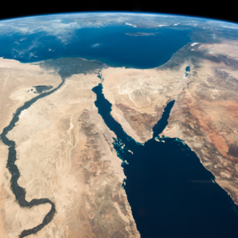 "A satellite image of the Middle East that was captioned by NASA astronaut Chris Hadfield: ""The Nile and the Sinai, to Israel and beyond. One sweeping glance of human history."" Credit: Julian Herzog/NASA via Wikimedia Commons."