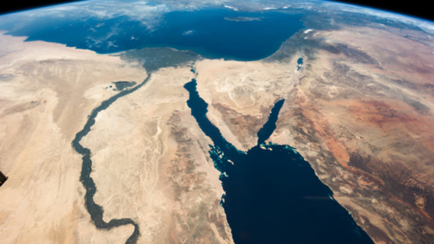 """A satellite image of the Middle East that was captioned by NASA astronaut Chris Hadfield, """"The Nile and the Sinai, to Israel and beyond. One sweeping glance of human history."""" Credit: Julian Herzog/NASA via Wikimedia Commons."""