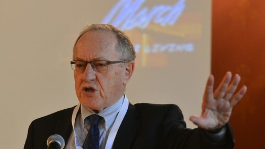 "Click photo to download. Caption: Human rights lawyer and pro-Israel advocate Alan Dershowitz speaks at ""The Double Entendre of Nuremberg"" symposium on May 4 at Jagiellonian University in Kraków, Poland. Credit: Yossi Zeliger."