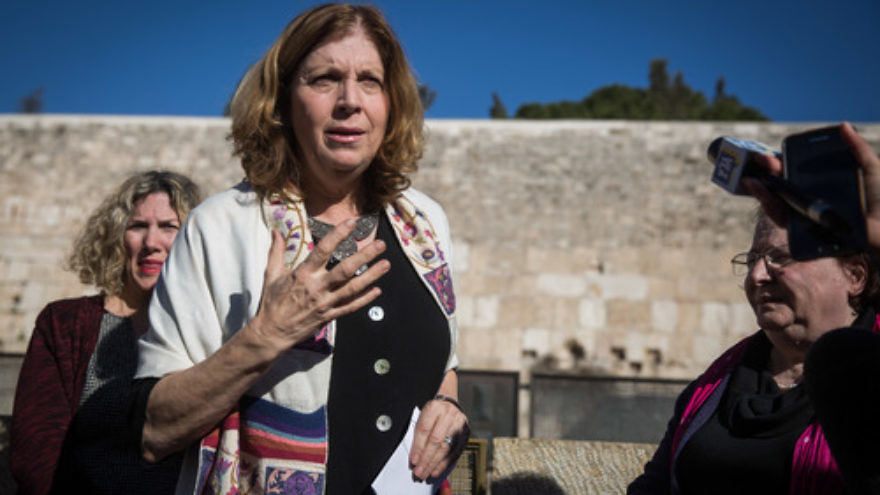 Click photo to download. Caption: Anat Hoffman, leader of the Women of the Wall group, speaks with members of the media near the Western Wall on Jan. 31, reacting to the Israeli government's passage of a new plan on egalitarian prayer rights at the Jewish holy site. Credit: Hadas Parush/Flash90.
