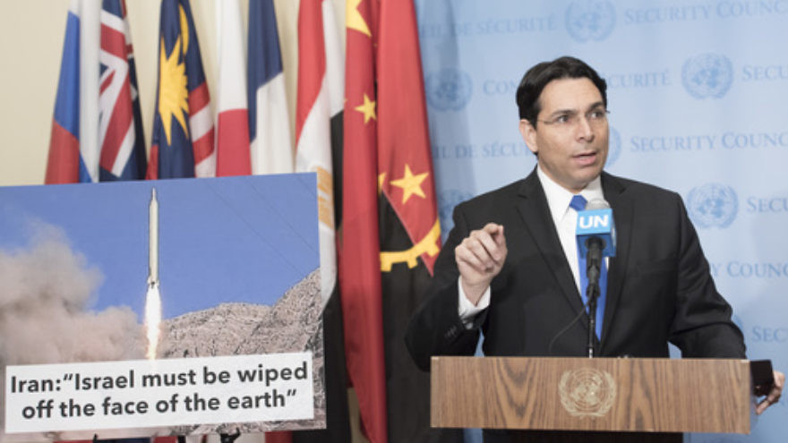 Israeli Ambassador to the United Nations Danny Danon speaks to the media ahead of U.N. Security Council consultations on a ballistic missile launch by Iran. Credit: U.N. Photo/Mark Garten.