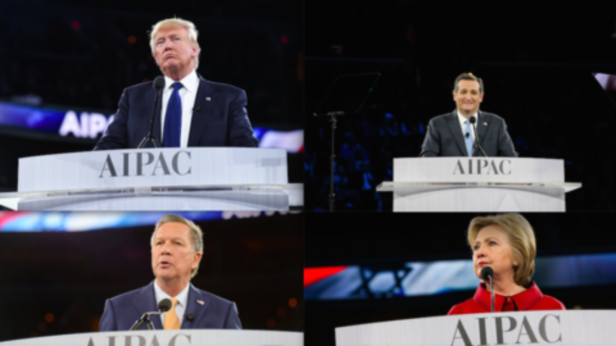 The presidential candidates who spoke at the recent AIPAC conference, including Donald Trump (top left), Ted Cruz (top right), John Kasich (bottom left), and Hillary Clinton (bottom right). Credit: AIPAC.
