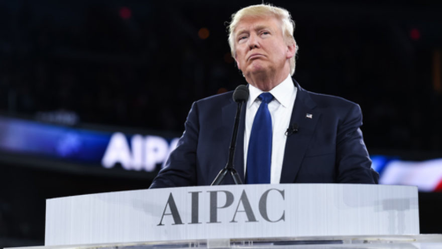 Click photo to download. Caption: Donald Trump during his speech at the 2016 AIPAC conference. Credit: AIPAC