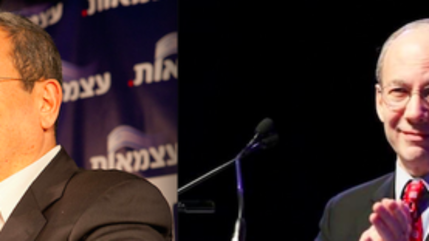 Click photo to download. Caption: Former Israeli prime minister Ehud Barak (left) and former Union for Reform Judaism president Rabbi Eric Yoffie (right) are among the prominent voices on the Jewish left who have opposed the Iran deal. Credit: Barak Weizmann via Wikimedia Commons and Eric Yoffie via Facebook.