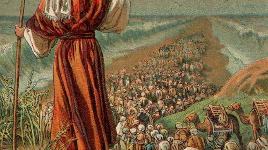Click photo to download. Caption: An illustration of the biblical Exodus from Egypt. Credit: Providence Lithograph Company via Wikimedia Commons.