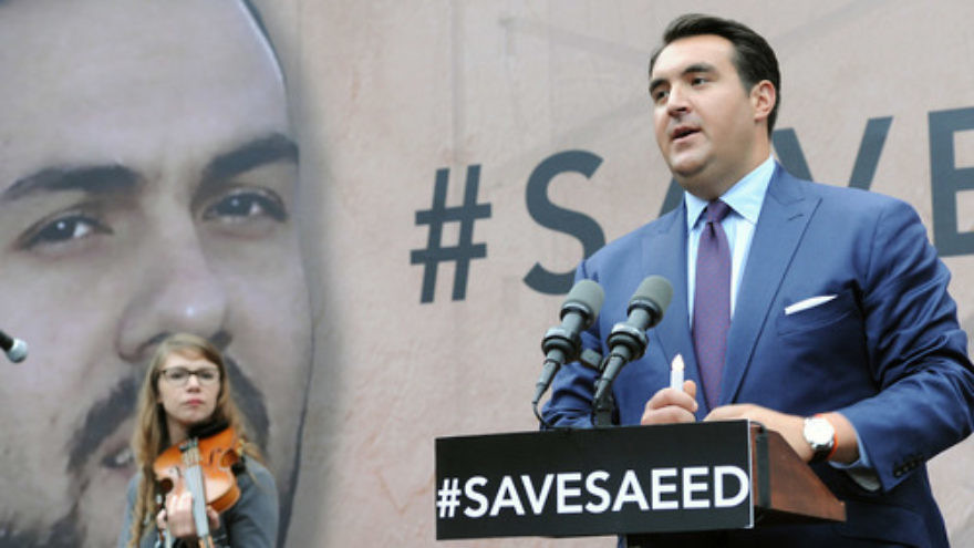 Click photo to download. Caption: Jordan Sekulow, executive director of the American Center for Law and Justice, speaks to a crowd gathered outside the White House on Sept. 25, 2014, to pray for the release of Pastor Saeed Abedini from prison in Iran. Abedini was eventually freed in January 2016. Credit: American Center for Law and Justice.