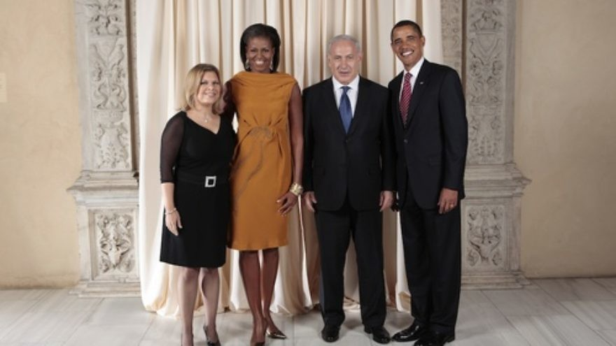"Click photo to download. Caption: Prime Minister Benjamin Netanyahu and President Barack Obama pose with their wives. Netanyahu told Israel Hayom that he is not using the Iran issue to harm Obama's re-election bid, calling such claims ""complete nonsense."" Credit: White House.   This official White House photograph is being made available only for publication by news organizations and/or for personal use printing by the subject(s) of the photograph. The photograph may not be manipulated in any way and may not be used in commercial or political materials, advertisements, emails, products, or promotions that in any way suggests approval or endorsement of the President, the First Family, or the White House."