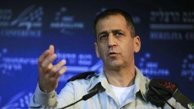 IDF Military Intelligence director Maj. Gen. Aviv Kochavi speaks at the Interdisciplinary Center in Herzliya, Israel, Feb. 2, 2012. Credit: Yehoshua Yosef/Flash90.