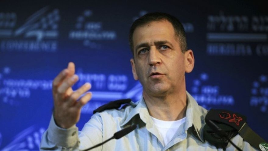 Click photo to download. Caption: IDF Military Intelligence Director Major General Aviv Kochavi speaks at the Interdisciplinary Center in Herzliya, Israel, Feb. 02, 2012. Credit: Yehoshua Yosef /Flash90.