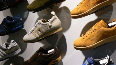 Click photo to download. Caption: Adidas sneakers on display. Credit: Ken Banks via Wikimedia Commons.