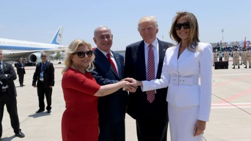 Sara Netanyahu and Prime Minister Benjamin Netanyahu welcome President Donald Trump and first lady Melania Trump to Israel Monday. Credit: Avi Ohayon/GPO.