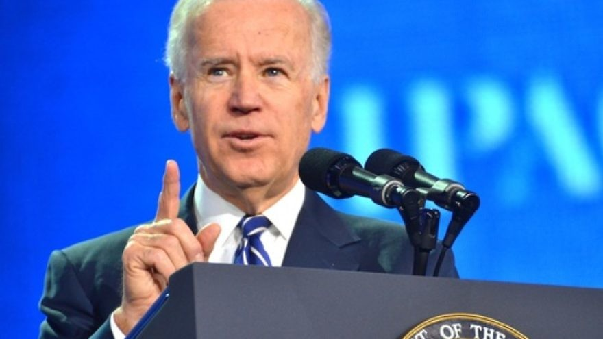 Then-Vice President Joe Biden speaking at the 2013 AIPAC policy conference. Credit: Maxine Dovere.