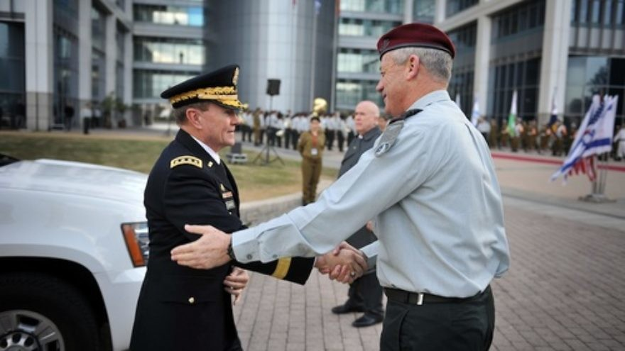 Click photo to download. Caption: Chairman of the Joint Chiefs of Staff of the United States Military, Gen. Martin E. Dempsey, meets Israel Defense Forces Lt. Gen. Benny Gantz in Israel. Dempsey says he consults with Gantz once every two weeks, and one of their conversation topics these days is Iran's nuclear program. Credit: Israel Defense Forces.