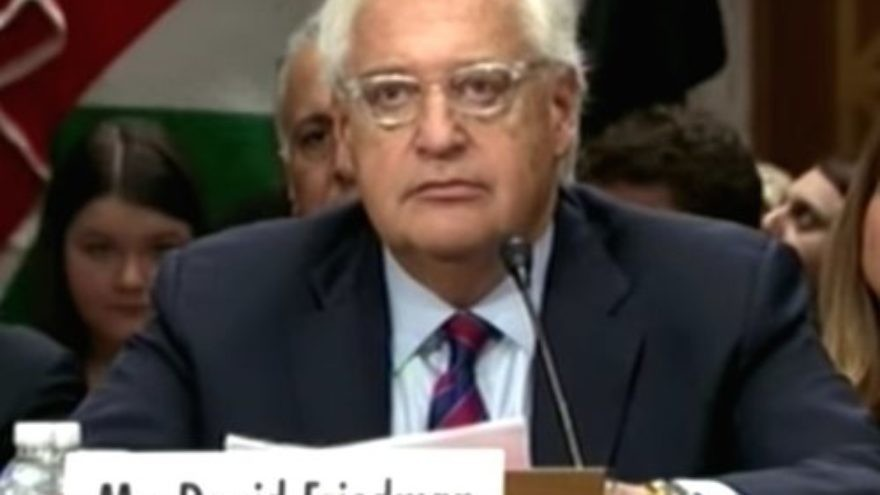 David Friedman, U.S. President Donald Trump's newly confirmed ambassador to Israel, during his Senate confirmation hearing. (YouTube)