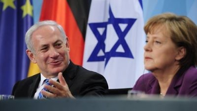Israeli Prime Minister Benjamin Netanyahu and German Chancellor Angela Merkel in 2011. Credit: EPA/HANNIBAL HANSCHKE.