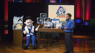 """Click photo to download. Caption: Neal Hoffman presents the """"Mensch on a Bench"""" on the ABC program """"Shark Tank."""" Credit: Mensch on a Bench."""