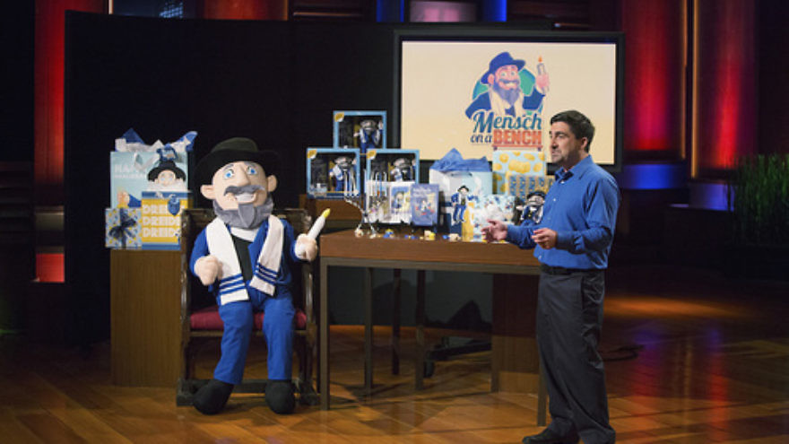 """Neal Hoffman presents the """"Mensch on a Bench"""" on the ABC program """"Shark Tank."""" Credit: Mensch on a Bench."""