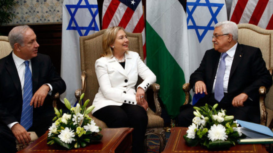 Hillary Clinton (center), then the U.S. secretary of state, hosts direct talks between Palestinian Authority leader Mahmoud Abbas (right) and Israeli Prime Minister Benjamin Netanyahu (left) in Sharm El Sheikh, Egypt, on Sept. 14, 2010. Credit: U.S. State Department.