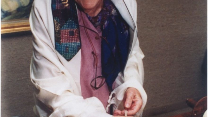 Click photo to download. Caption: Judith Kaplan Eisenstein at the 70th anniversary of her bat mitzvah, 1992. Credit: Archives, Reconstructionist Rabbinical College.