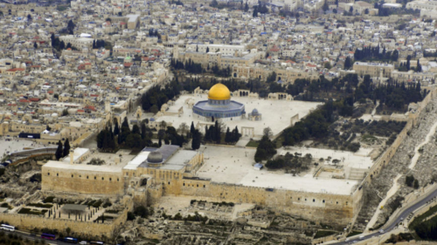 "Click photo to download. Caption: An aerial view of the Temple Mount in Jerusalem. Among other questions, Rev. Dr. Peter A. Pettit asks after Christmas: ""Will I give my presence for a Temple Mount respected as the focal point of Jewish and Christian holiness?"" Credit: Godot13 via Wikimedia Commons."