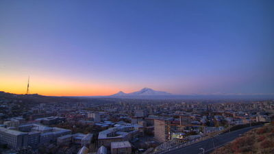 Click photo to download. Caption: A view of the Armenian capital city of Yerevan. Credit: Wikimedia Commons.