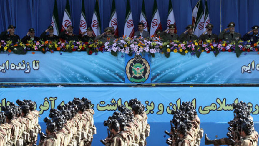 "Soldiers march during Iran's ""Army Day"" in April 2011. Credit: Mojtaba Heydari via Wikimedia Commons."