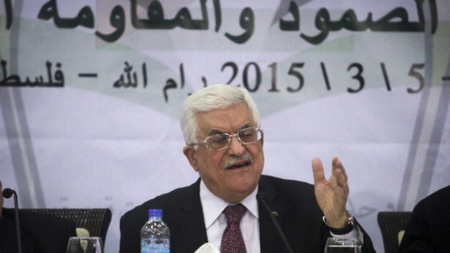On March 4, 2015, Palestinian Authority leader Mahmoud Abbas speaks during a meeting of the Central Council of the Palestinian Liberation Organization at Abbas's office in the West Bank city of Ramallah. Credit: STR/Flash90.