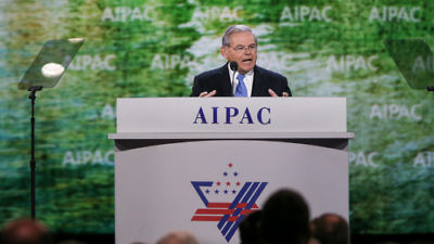 Click photo to download. Caption: U.S. Sen. Robert Menendez (D-N.J.) speaks at the 2015 American Israel Public Affairs Committee (AIPAC) policy conference in March. Credit: AIPAC.