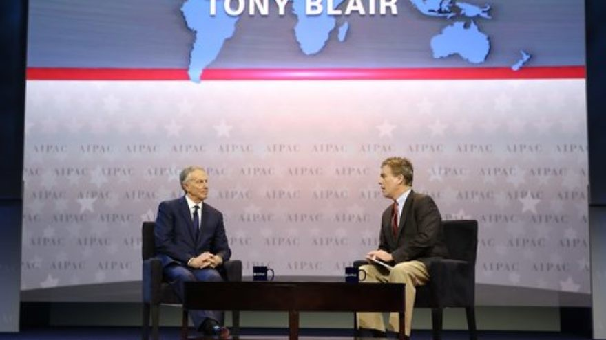 Former British Prime Minister Tony Blair (left) and former CNN correspondent Frank Sesno on the 2017 AIPAC Policy Conference's stage Sunday. Credit: AIPAC.