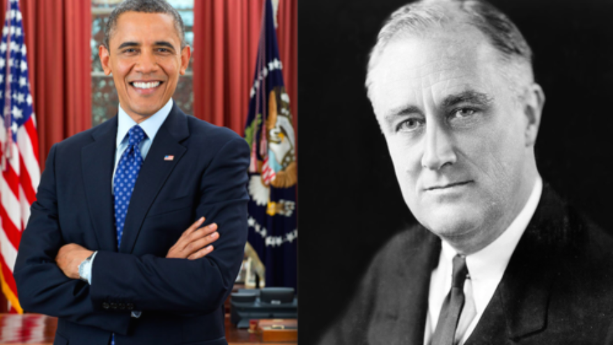 Click photo to download. Caption: Presidents Barack Obama and Franklin D. Roosevelt. Rafael Medoff compares the Obama administration's reluctance to support pro-democracy protesters in Hong Kong to the Roosevelt administration's maintaining of normal relations with Nazi Germany despite Hitler's treatment of the Jews. Credit: White House and Elias Goldensky.