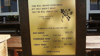 Click photo to download. Caption: A memorial plaque for the victims of the 2003 suicide bombing at Mike's Place in Tel Aviv. Credit: Avishai Teicher via Wikimedia Commons.